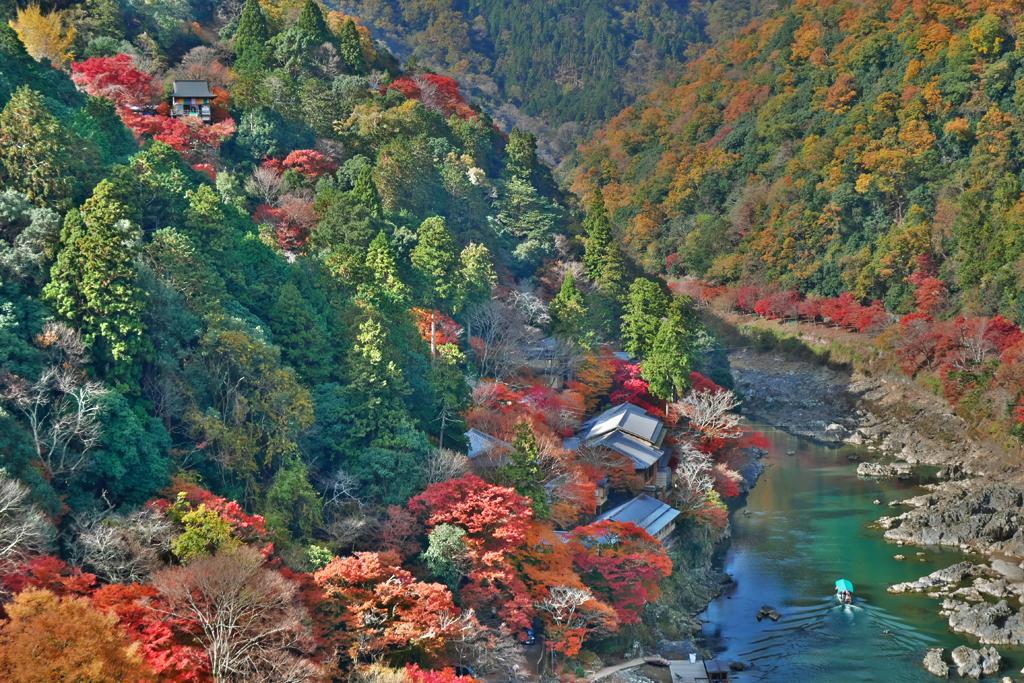 嵐山・大悲閣千光寺の紅葉の写真素材