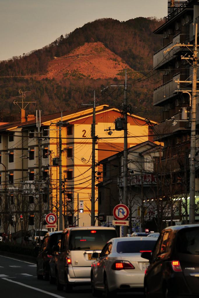 大文字山の夕暮れの写真素材