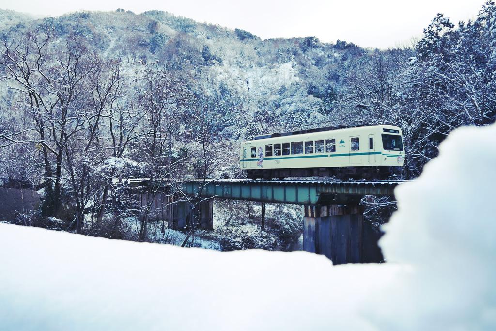 雪 叡電の写真素材
