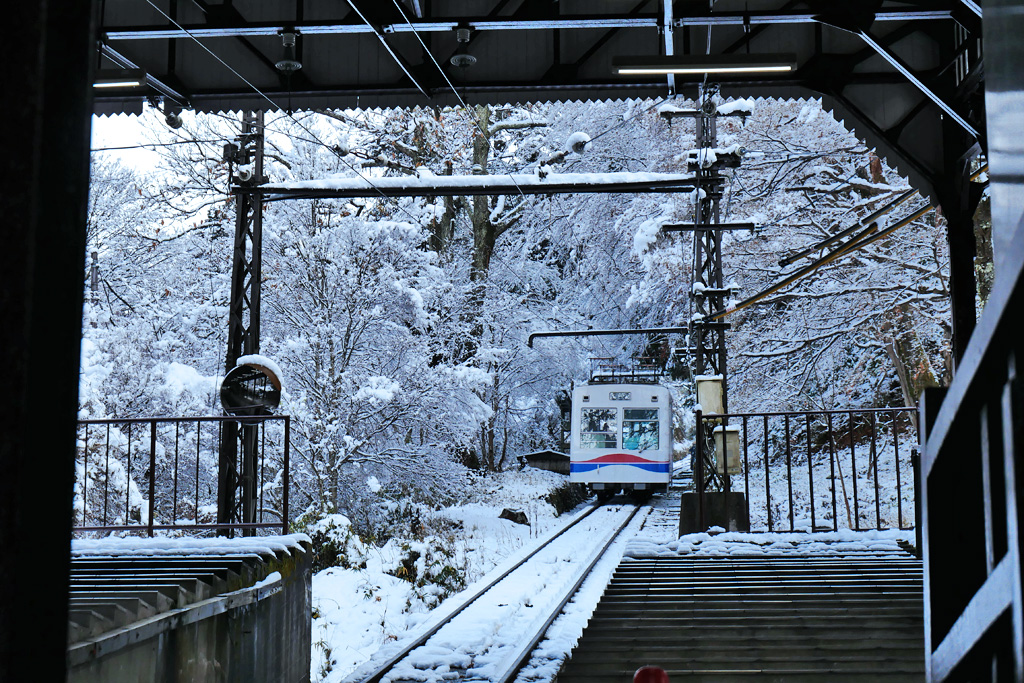 雪 叡山ケーブルの写真素材