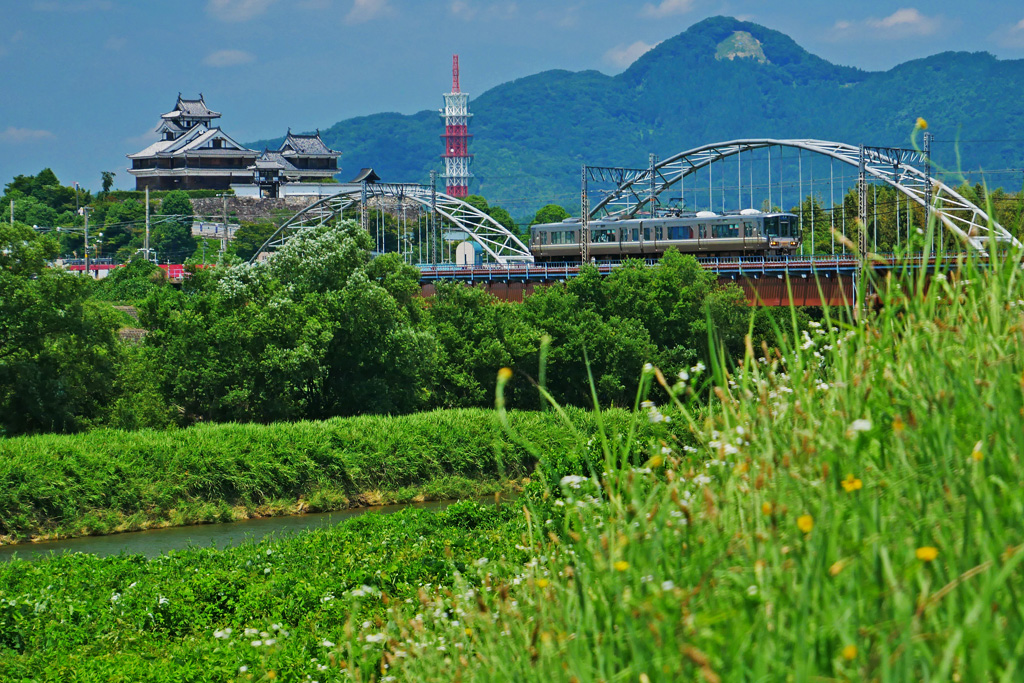 福知山城と土師川の写真素材