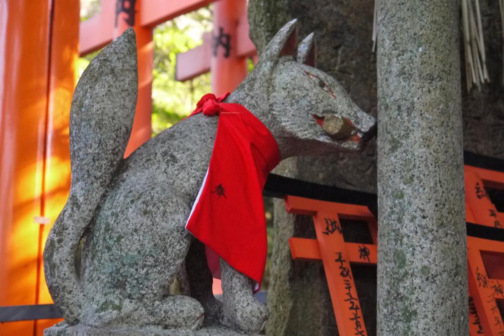 伏見稲荷大社の狐の写真素材