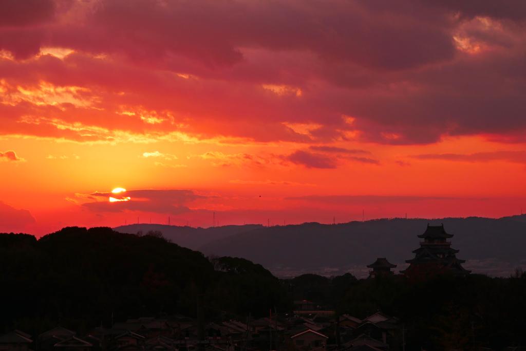 伏見桃山城の夕暮れの写真素材