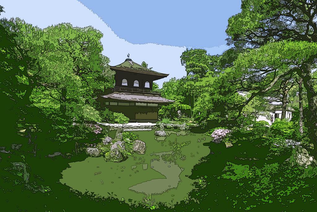 新緑の銀閣寺のイラスト素材