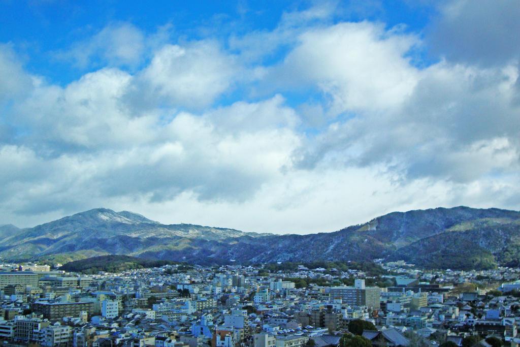 比叡山と大文字の写真素材