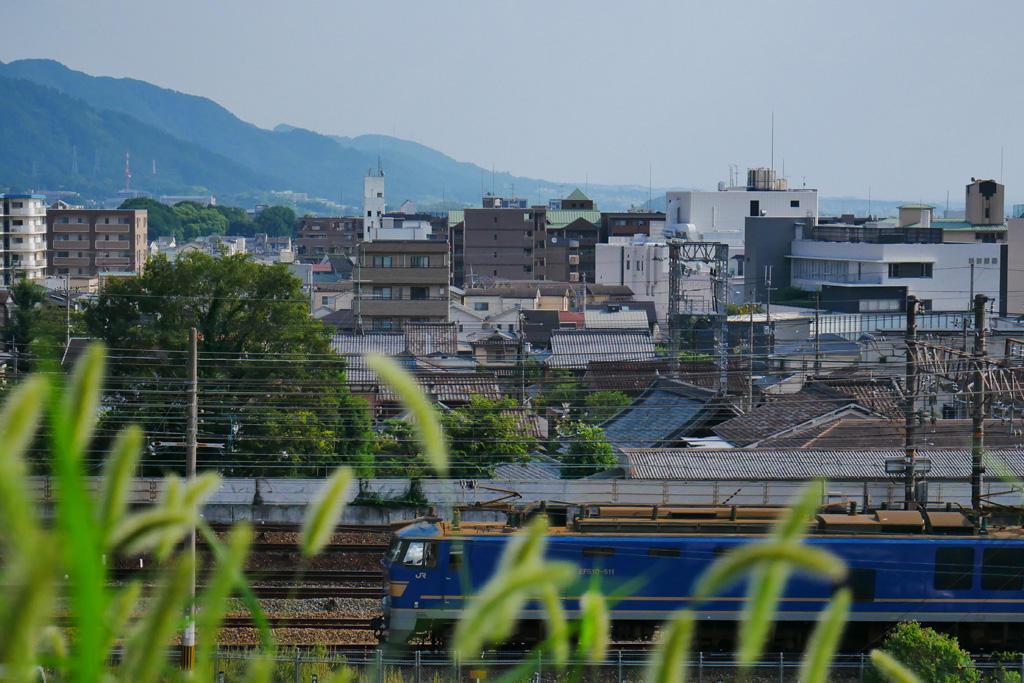 京都山科 貨物列車の写真素材
