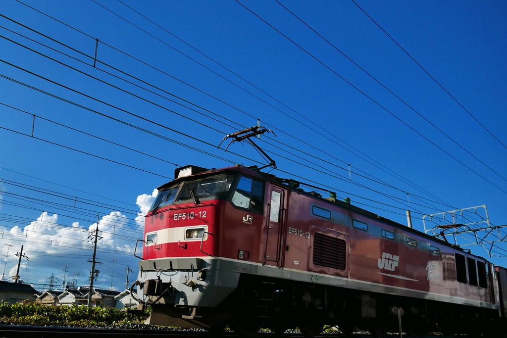 JR 電気機関車 EF510-12レッドサンダーの写真素材