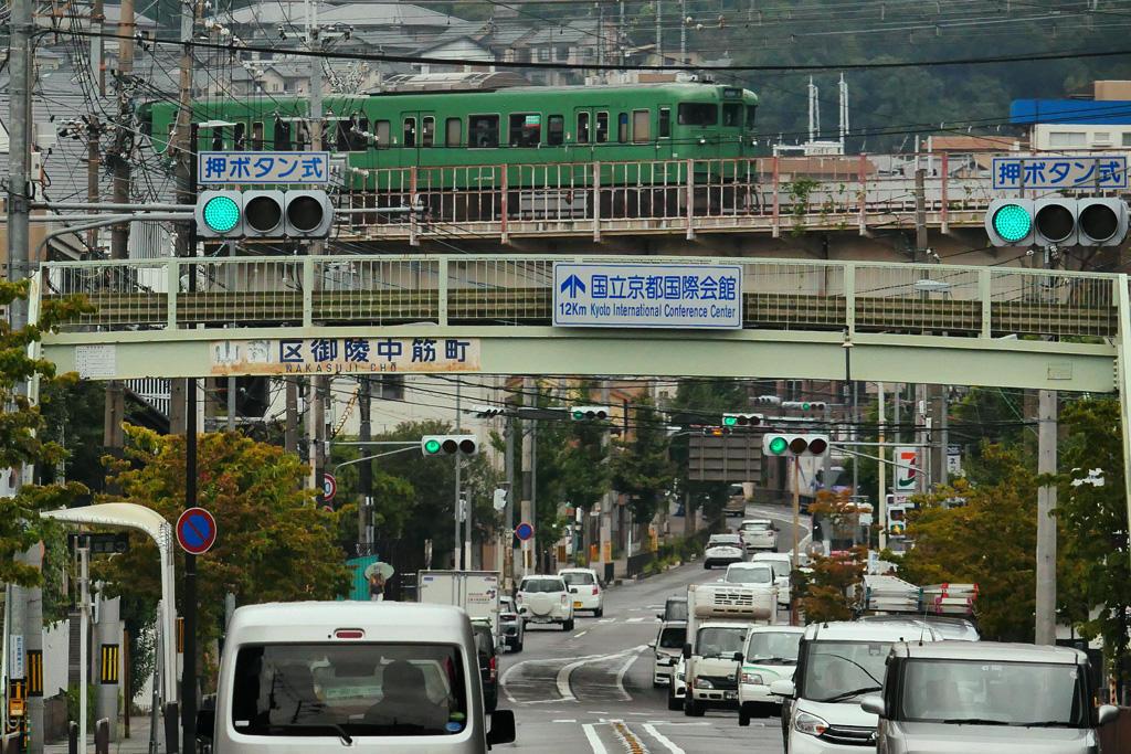 京都山科のJR湖西線の写真素材
