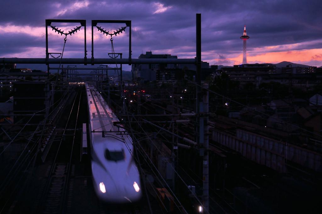 京都の新幹線の写真素材