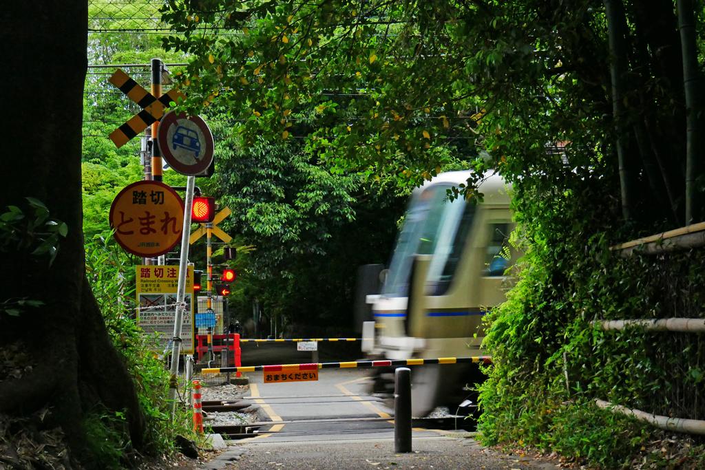 JR嵯峨野線の踏切 写真素材