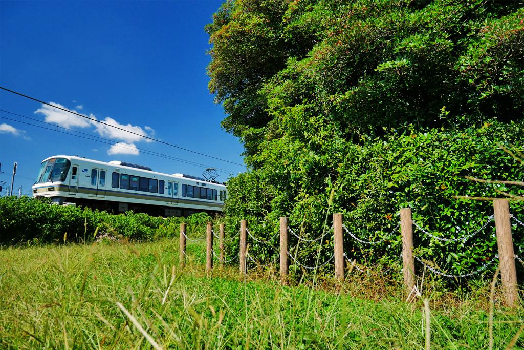 JR奈良線と浄妙塚の写真素材