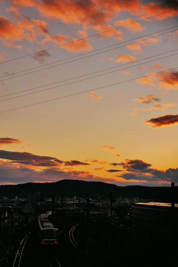 山科のJR湖西線の写真素材
