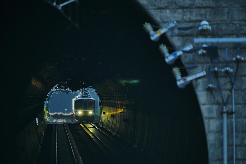 保津峡駅のトンネル JR山陰線の写真素材