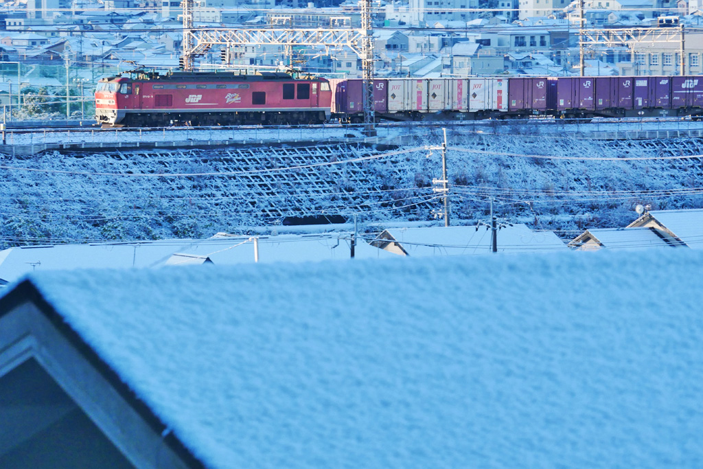 雪 京都山科のJRの写真素材