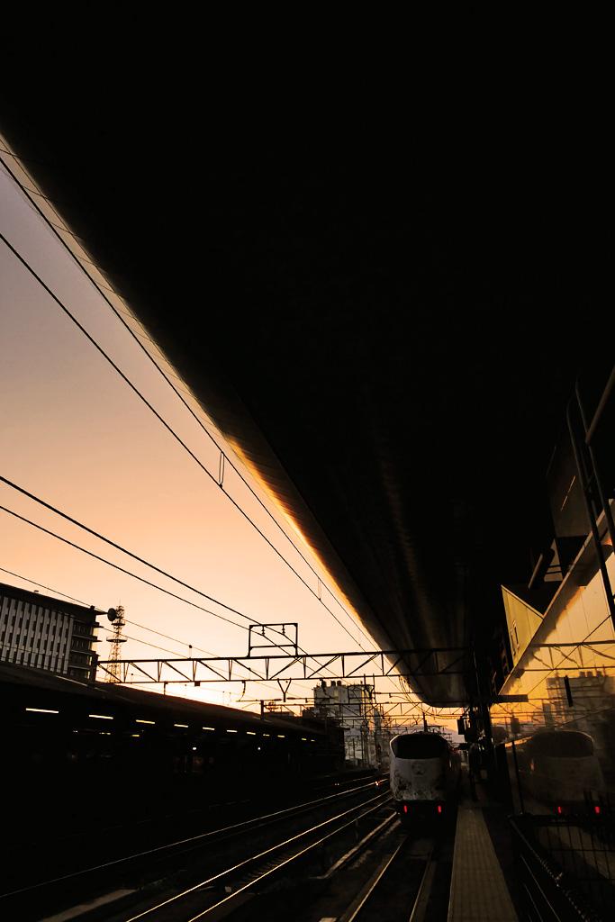 JR京都駅 特急はるかの写真素材