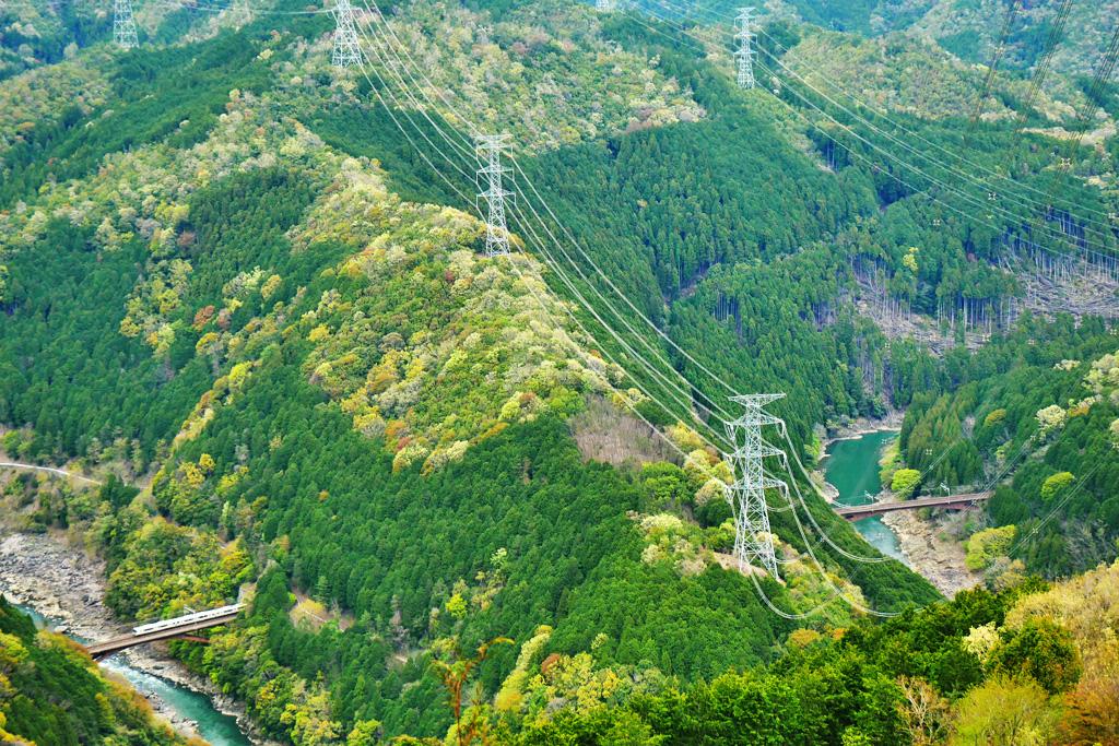 保津峡 JR山陰線の写真素材