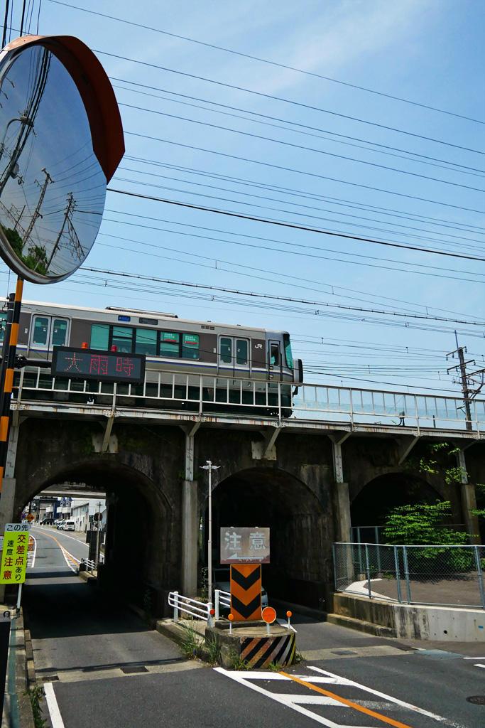 JR京都線 神足六連橋の写真素材