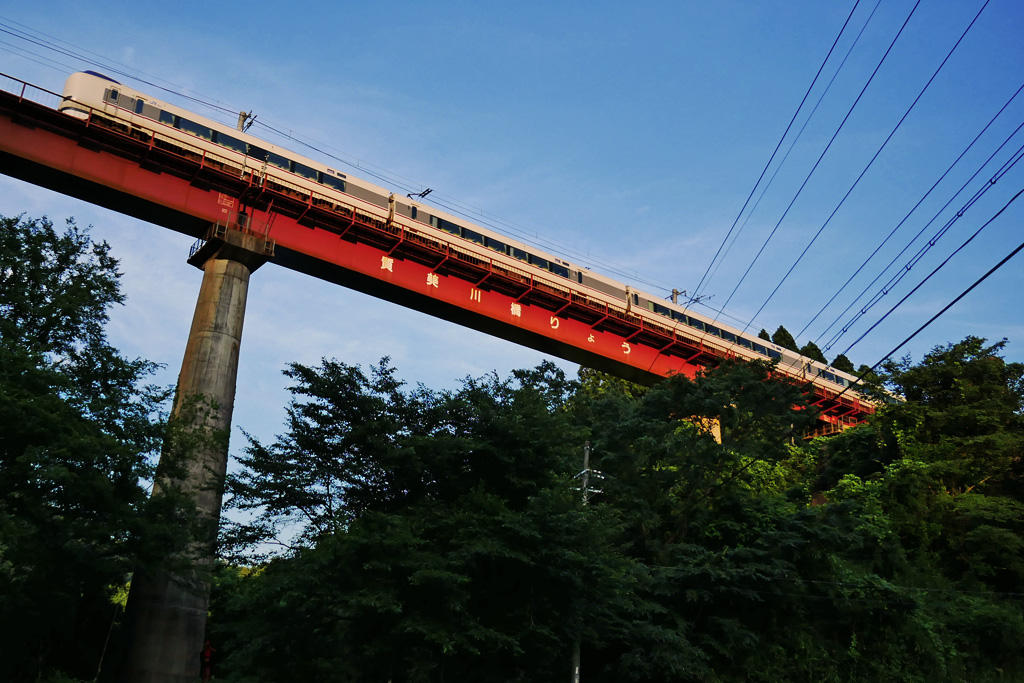 JR山陰線 質美川橋梁の写真素材