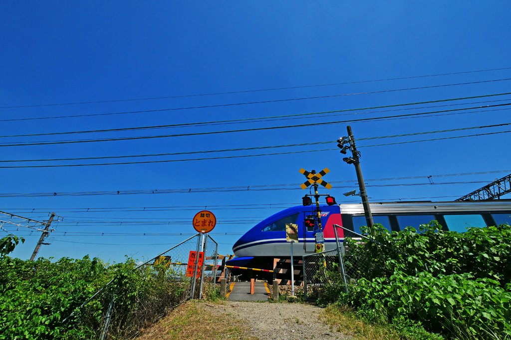 JR京都線 踏切の写真素材