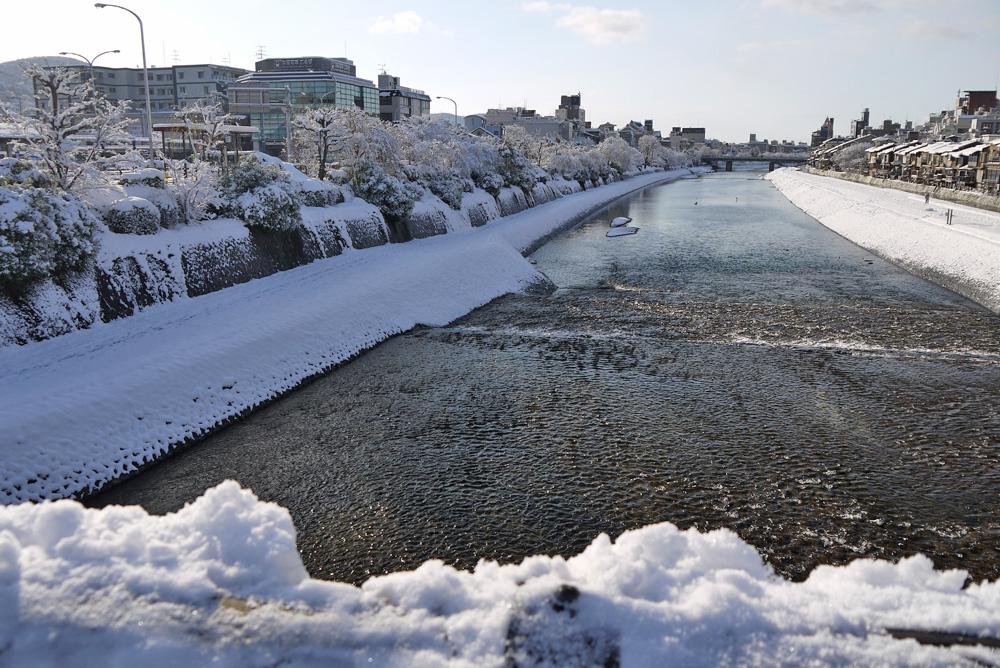 京都 鴨川の雪 無料画像
