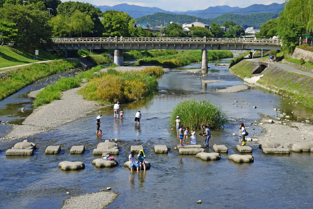 京都 鴨川デルタの写真素材