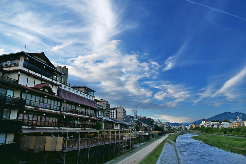 京都の納涼床の写真素材
