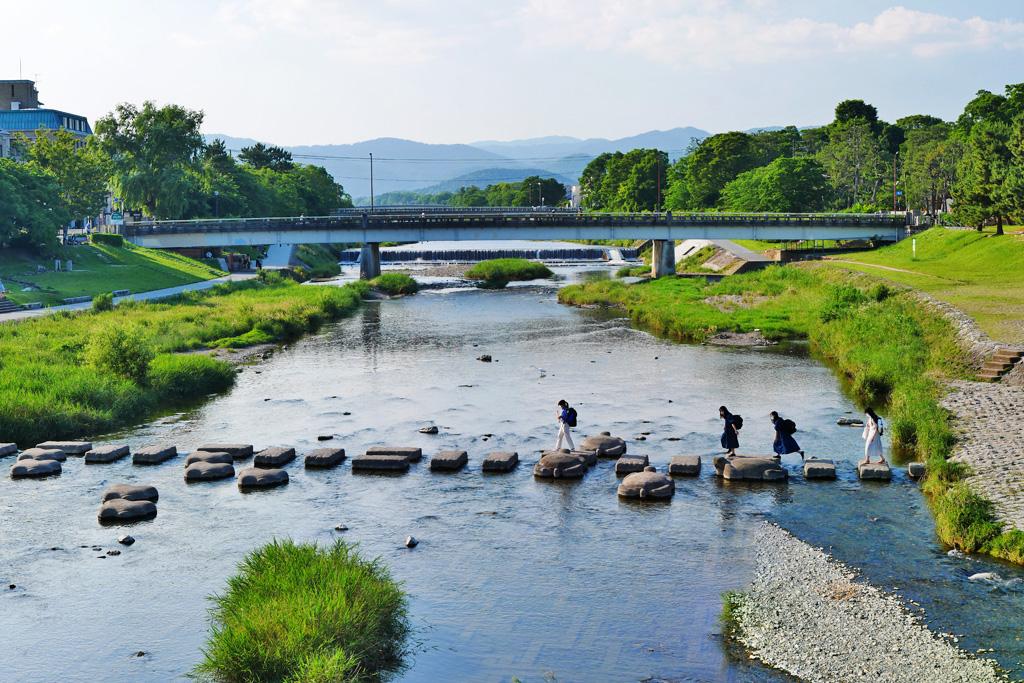 京都 鴨川デルタ 飛び石の写真素材