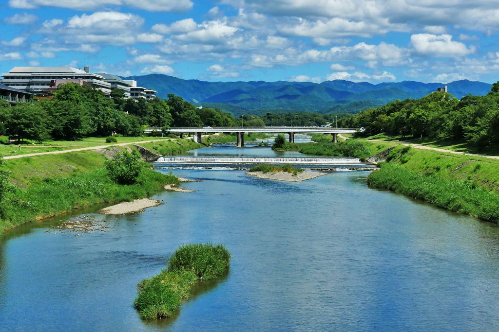 京都 鴨川 丸太町橋の写真素材