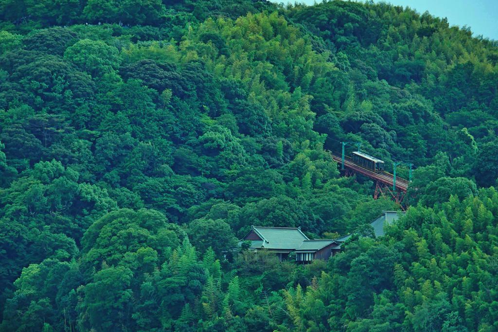 京阪電車 男山のケーブルカーの写真素材