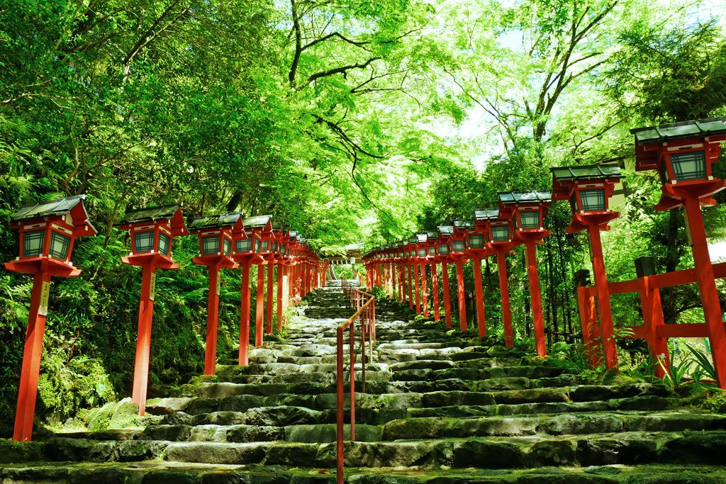 貴船神社の石段の写真素材