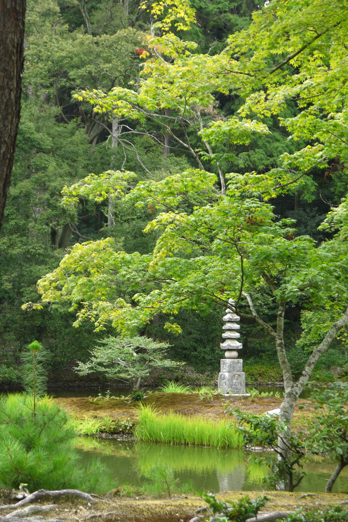 金閣寺の白蛇の塚の写真素材