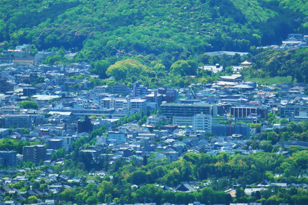 比叡山から遠望する金閣寺の写真素材