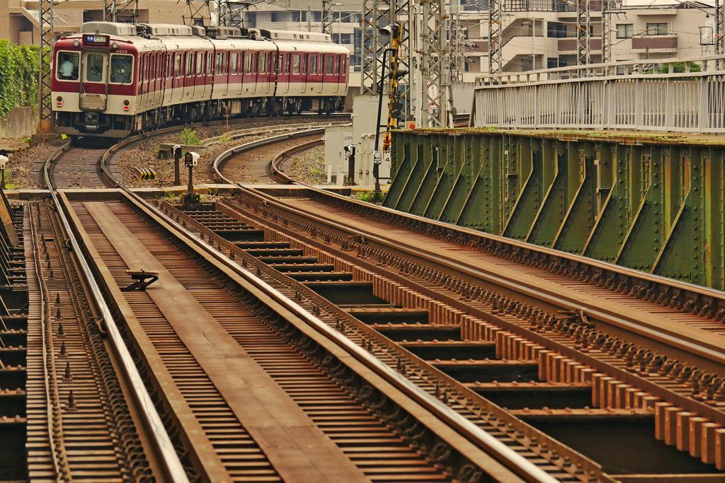 近鉄電車 くいな橋の写真素材