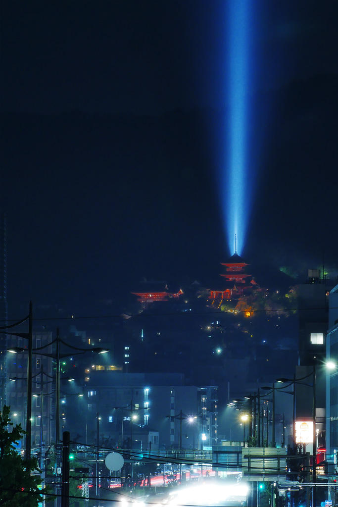 清水寺のライトアップ写真素材