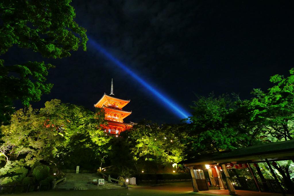 清水寺の夏 ライトアップの写真素材