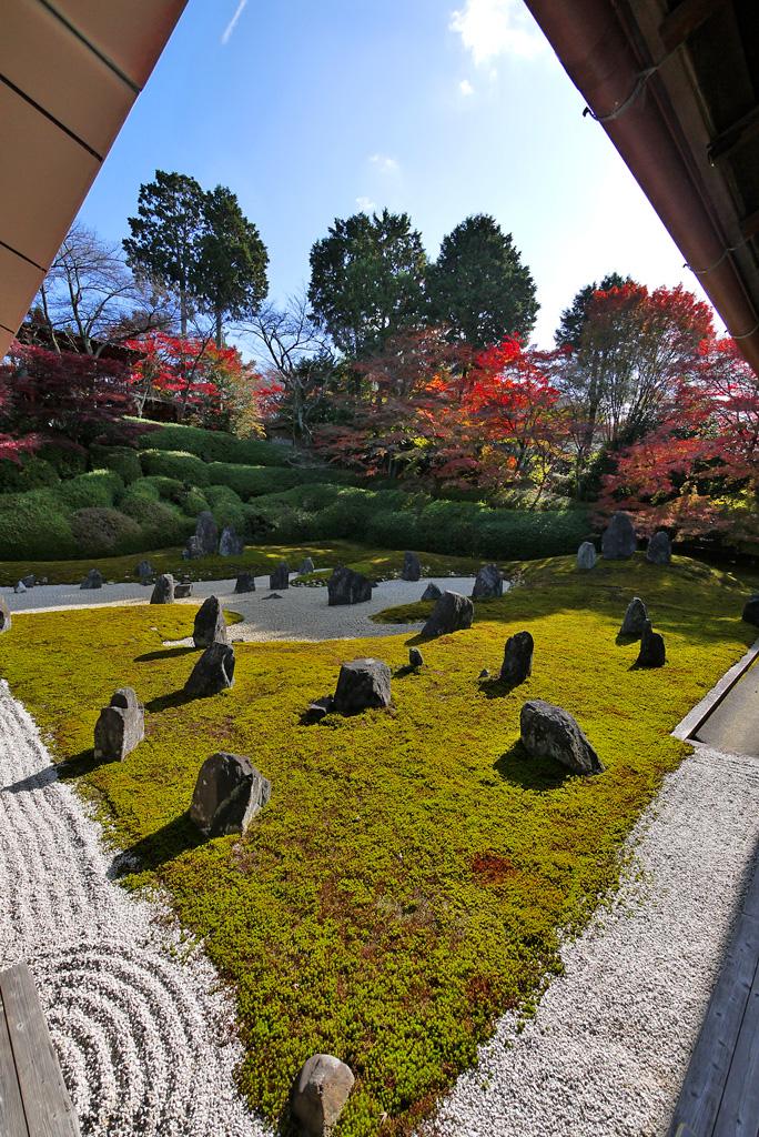 東福寺光明院の波心庭の紅葉の写真素材