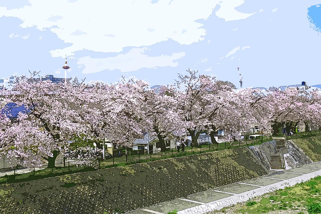 京都タワーのイラスト素材