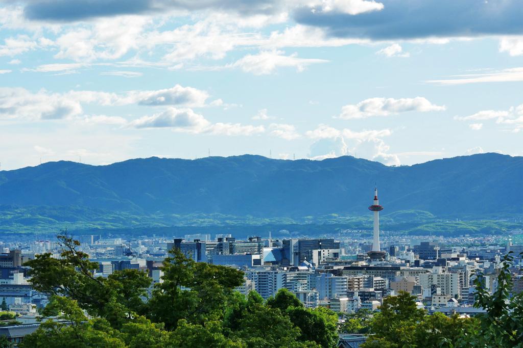 清水寺の境内から見る京都タワーの写真素材