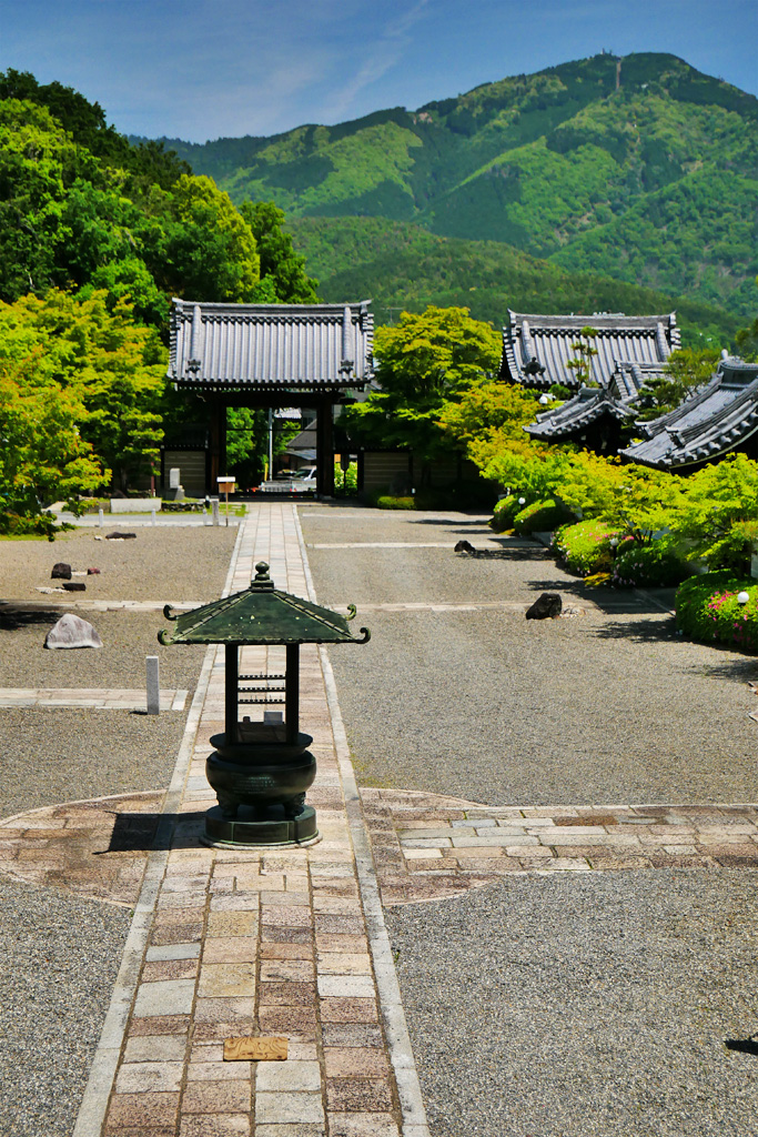 妙満寺と比叡山の写真素材