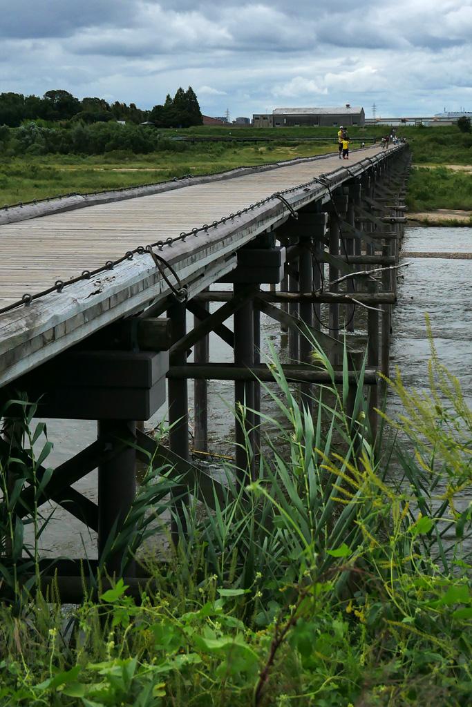 流れ橋(上津屋橋)の写真素材