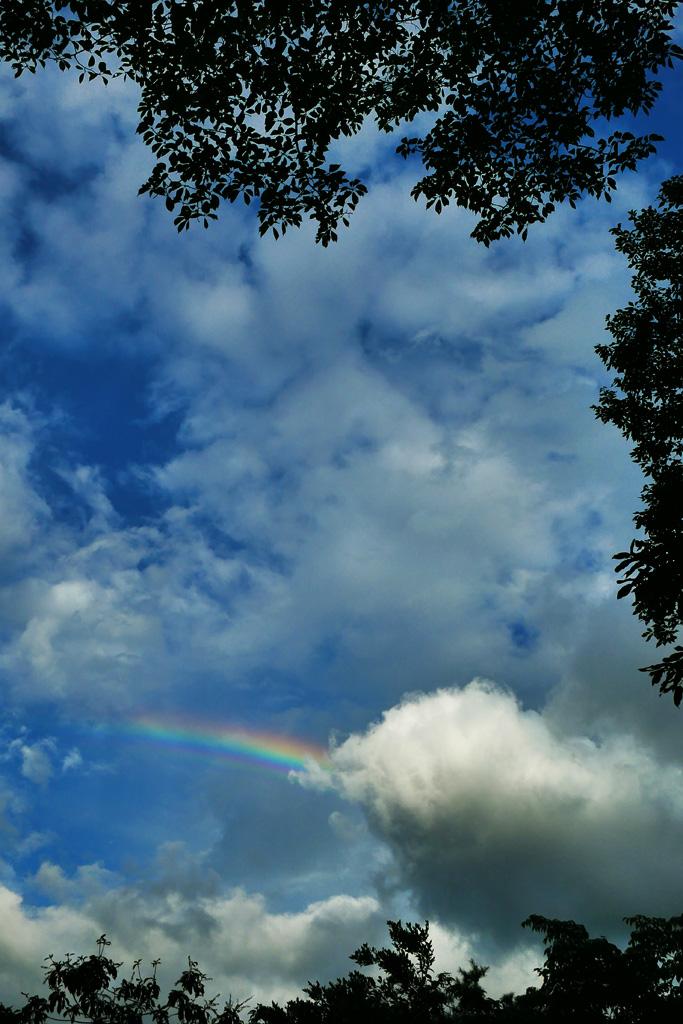 比叡山の上の虹の写真素材