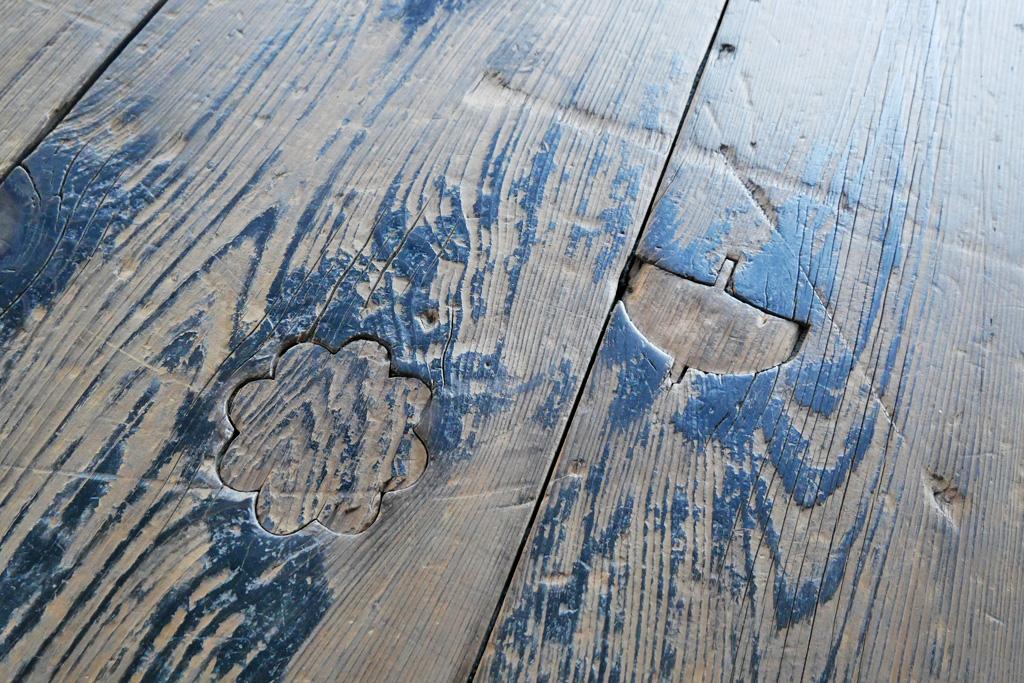 西本願寺の床の埋め木 写真素材
