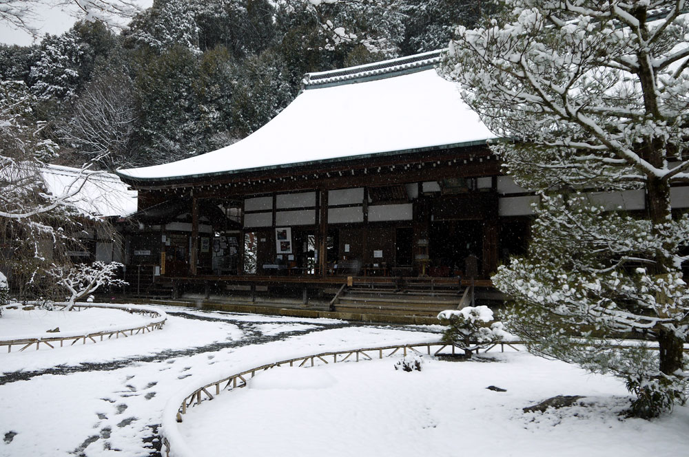 二尊院の雪の写真素材