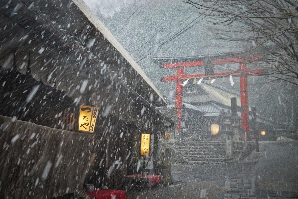 京都 奥嵯峨の冬景色の写真素材