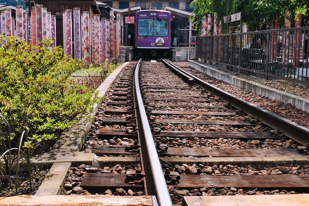 嵐電嵐山駅の写真素材