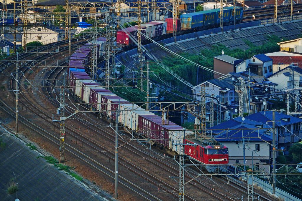京都山科のJR貨物列車の写真素材