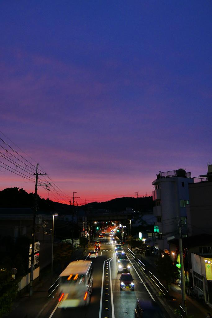 三条通りの夕暮れの写真素材