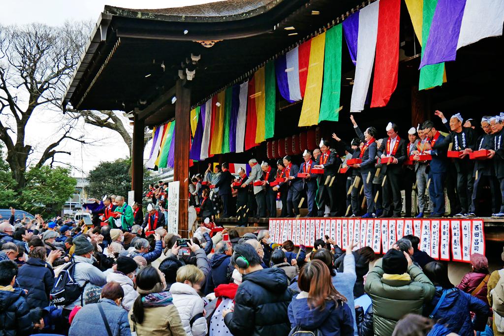 千本釈迦堂の節分の写真素材