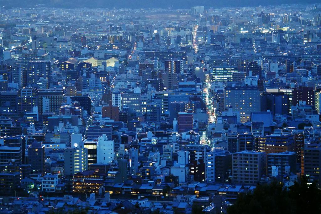 将軍塚市営展望台からの夜景の写真素材