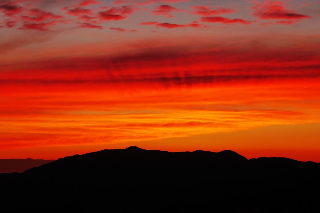 将軍塚市営展望台の夕焼の写真素材